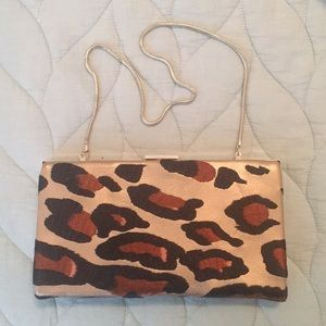 Vintage Banana Republic leopard & gold evening bag